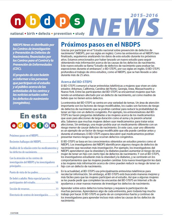 2015 - 2016 NBDPS Newsletter (Spanish)